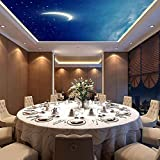 Star Sky Ceiling_Galaxy Star Theme Ceiling Ceiling Wallpaper Bar KTV Box Personalidad 3d Personalización sin costuras Papel tapiz Mural de pared 3D pe Papel Pintado Fotográfico Fotomural-200cm×140cm