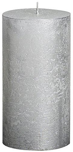 Vela cilíndrica de parafina, rústico, tamaño 13 cm, color plata