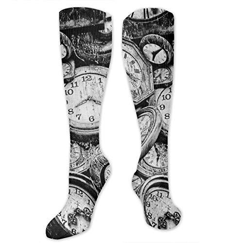 wonzhrui Kniehohe Socken für Männer Frauen Retro Taschenuhr Uhr lange Schlauchstrümpfe