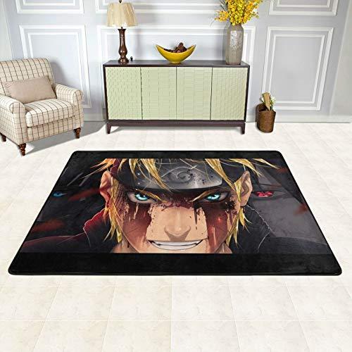 dgdgdg Alfombra de anime Naruto adecuada para sala de estar, dormitorio, área de niños, suave y cómoda, decoración de casa de arte, 91,4 x 60,9 cm