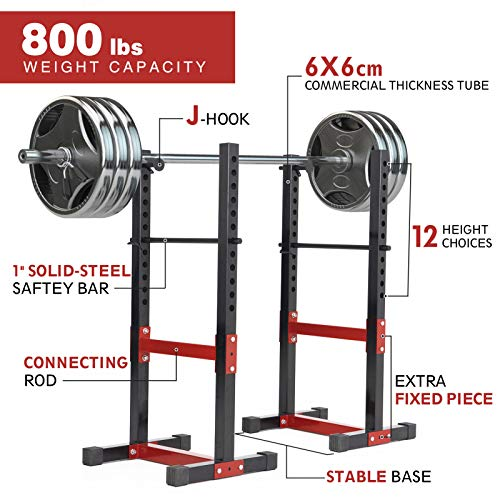 ER KANG Multi-Functional Barbell Rack, 800 LBS Capacity Fitness Adjustable Power Cage Dip Stand Squat Power Rack for Home Gym, Weight Lifting, Bench Press, Workout