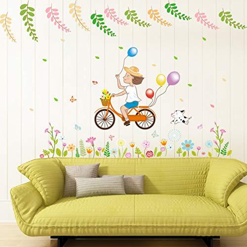 Pegatinas de pared Ciclismo dibujos animados sala de estar dormitorio ecológico puerta extraíble ventana pegatinas de pared calcomanía decoración arte Mural cartel