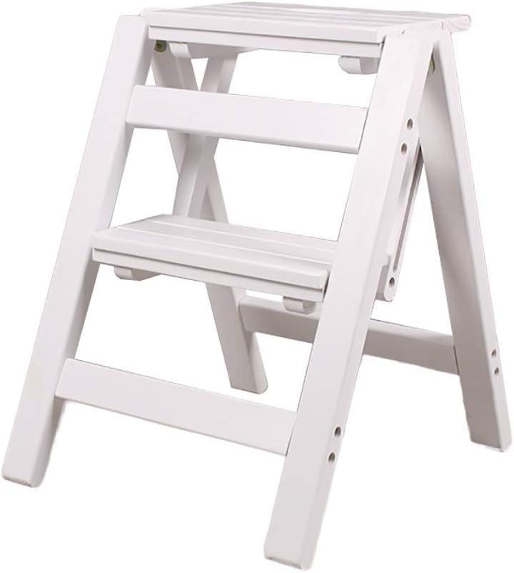 RFJJAL Escalera Plegable - Taburete de Paso Escalera pequeña de Madera 2 Piso Taburete Plegable de Paso - Taburete Plegable Escalera portátil Taburete de Paso (Color : White)