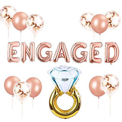 JeVenis Zestaw 12 balonów zaręczynowych w kolorze czerwonego złota, balon zaręczynowy, baner zaręczynowy, balon zaręczynowy, dekoracja balon zaręczynowy
