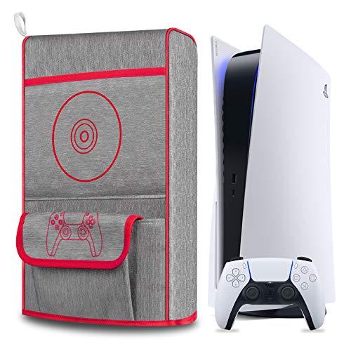 Anti Staub Abdeckung fur PS5Schutzhulle fur Sony Playstation 5Anti Scratch WasserdichtUnterstutzung fur PS5 Controller und 12 Game Discs Rot
