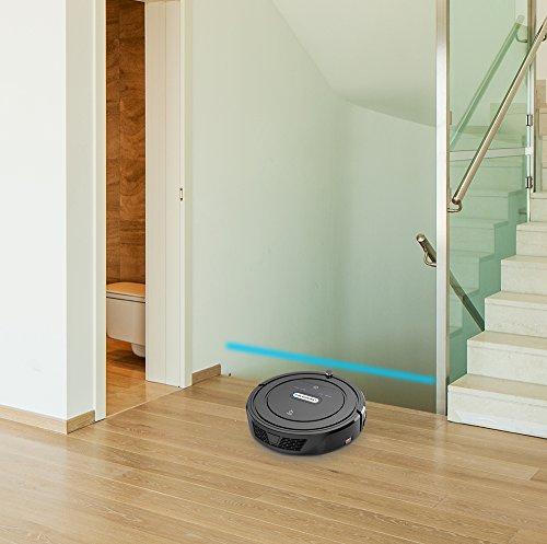 Blaupunkt Saugroboter mit Wischfunktion (Automatischer Staubsauger Roboterstaubsauger) Bluebot, HEPA-Filter & Nasswischfunktion für Allergiker, Fallschutz, Ladestation, Schwarz, 35 Watt - 8