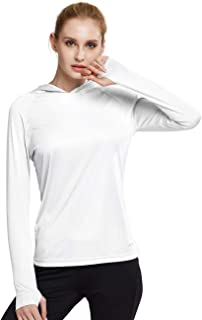 Women's UPF 50+ Sun Protection Hoodie Long Sleeve SPF Outdoor Running Workout T-Shirt with Thumbholes