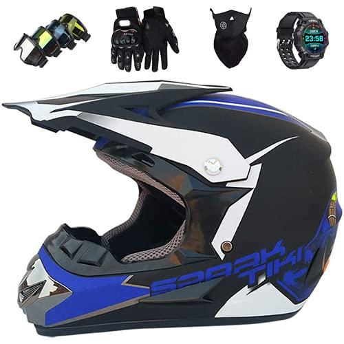 Casco de motocicleta, auriculares de motocross para adultos, BMX MTB MTB Relación Rueda de rueda llena de carretera Casco de accidente de motocicleta, con reloj inteligente regalo, azul negro azul,S