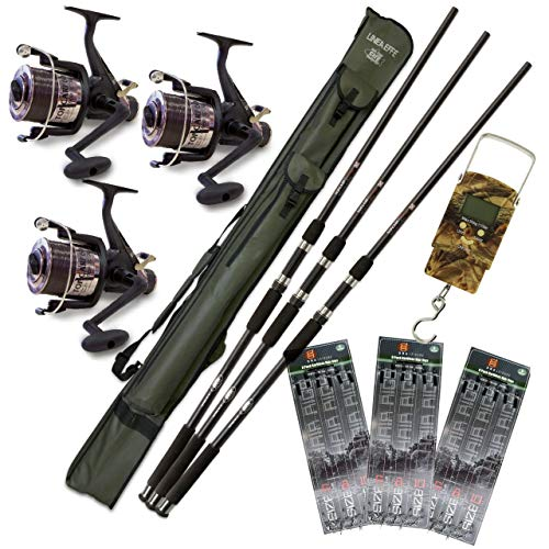 DNA Leisure Full Carp Fishing 3 Rod and Reel Set Up Complete With Holdall Rigs Scales And Tackle