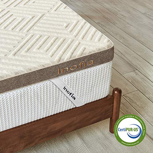 Inofia Mattress Topper Queen, 3 Inch LATEXPUR Bed Topper with Removable Cover, Ventilated Design | Natural Comfort, Dual Layer to Renew Old Mattress, Rest Easy, 100-Night Home Trial