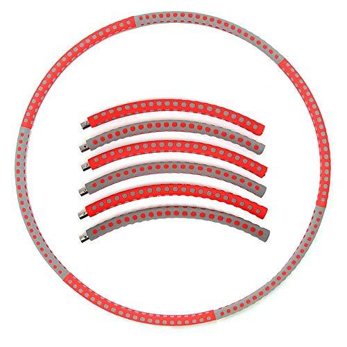 Ltjqsm Detectable 6 Secciones Espuma Acero Inoxidable Deporte Hoop Home Home Fitness Fin Thin Cintura Fitness Circle Equipment (Color : Blue Red Dots)