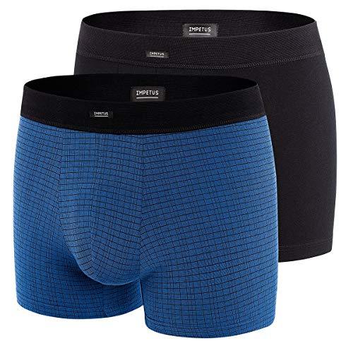 Impetus Boxershorts aus Baumwolle, Stretch, Schwarz und Petrol mit schwarzen Karomuster, 2 Stück Gr. S, blau