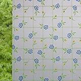 Vinilo Película de Ventana Privacidad Pegatina Decorativas para Translucido para Cristal Película Decorativa Electrostática Anti-UV para Hogar Cocina Baño y Oficina (Pequeña Flor Azul 90 x 200 cm)