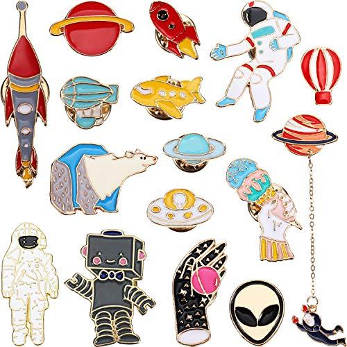 Preisvergleich Produktbild WILLBOND 16 Stück Emaille Pins Niedlichen Cartoon Revers Brosche Weltraum Abzeichen Pin für Rucksack Hut