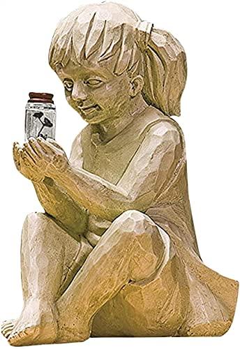 Decoración de jardín Estatua para niños Adorno de resina de tarro de luciérnaga con luz solar con luz LED para jardín de césped Lámpara de escultura Día de Pascua Decoración de jardín (Color: B)
