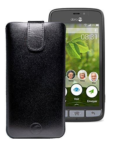 Original Favory Etui Tasche für Doro 8031 | Doro 8031C Leder Etui Handytasche Ledertasche Schutzhülle Hülle Hülle Lasche mit Rückzugfunktion* in schwarz