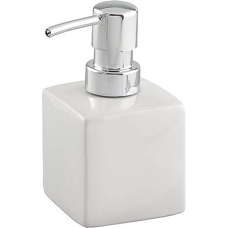 WENKO Distributeur de savon Square blanc céramique - Distributeur de savon liquide Capacité: 0.245 l, Céramique, 7 x 13 x 7 cm, Blanc