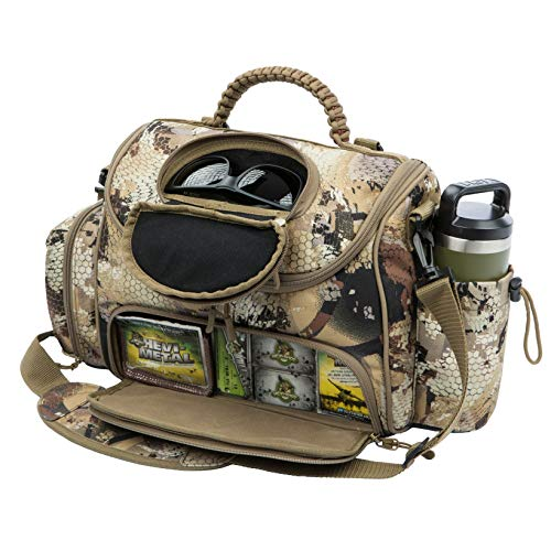Rig'Em Right Waterfowl Lock and Load Duck Hunting Blind Bag with Molded Ammo Compartments, Sunglasses Case, Drink Holder and More (Optifade Marsh Camo)