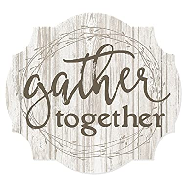 MRC Wood Products Gather Together Scalloped Distressed Sign 12x13