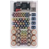 FYJENNICC Battery Case with a Removable Battery Tester, Battery Organizer Storage with Hinged