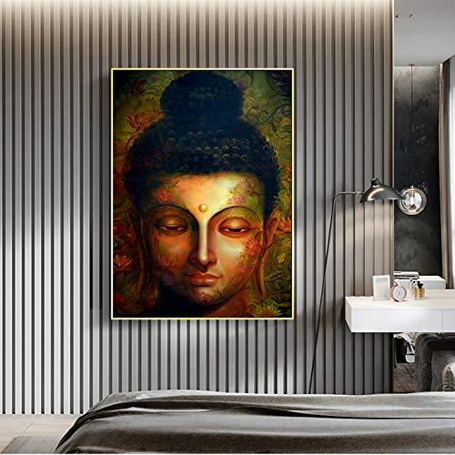 Pinturas artísticas abstractas Coloridas con Cabeza de Buda, decoración Moderna para la Pared del hogar, Cuadros en Lienzo, Impresiones Decorativas de Budismo 60x80cm
