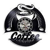 LKJHGU Disco de Vinilo Reloj de Pared diseño Moderno decoración Cocina 3D Vintage CD Reloj Reloj de Pared café Sala de Estar Dormitorio decoración