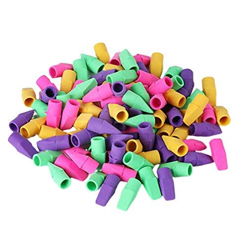 STOBOK 50 piezas de borrador de lápiz para niños borrador de lápiz borrador de tapa borrador de borrador borrador de lápiz borrador de escuela para niños útiles escolares (color aleatorio)