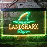 zusme Landshark Larger Beer Novelty LED Neon Sign Green + Yellow W16 x H12