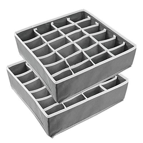 Veraing 2 Stück Aufbewahrungsbox, Schubladenunterteilungen Faltbare Schublade Organizer für Unterwäsche Aufbewahren Socken Schals Büstenhalter andere kleine Zubehörteile(grau)