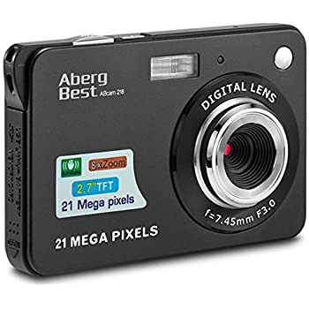 "AbergBest 21 Mega Pixels 2.7"" LCD Rechargeable HD Digital Camera,Video camera Digital Students cameras,Indoor Outdoor for Adult/Seniors/Kids (Black)"