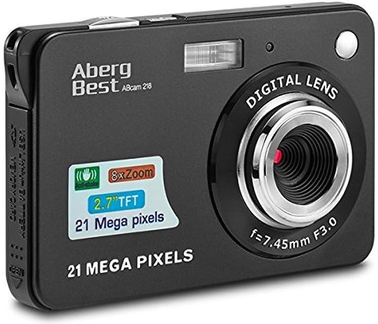 Compactas Cámaras Digitales AbergBest 2.7 LCD Recargable HD Cámara Digital para Estudiantes niños Adultos Interior y Exterior (Negro)