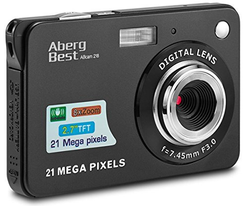 AbergBest 21 Mega Pixels 2.7 LCD Rechargeable HD Digital Camera,Video camera Digital Students cameras,Indoor Outdoor for Adult/Seniors/Kids (Black)