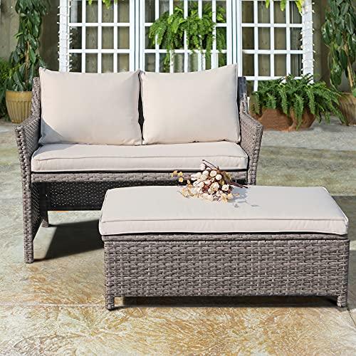 OC Orange-Casual 2-Piece Outdoor Patio Furniture Wicker Love-seat and...