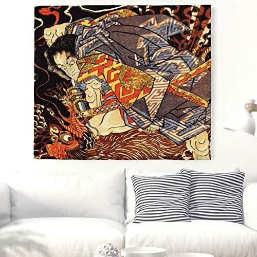 QIAO Samurai Japon¨¦s Que Lucha Tapices de Yokai Cultura Popular Tradicional Tapiz de Arte Acuarela Colgante de Pared Colgante de Pared Toalla de Pared Decorativa Mandala Playa