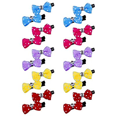 N\A 20Pcs Dog Hair Bows Hair Clips Bow Pattern Hair Clips Set Pet Dog Cat Hairpin Pet Grooming Products Puppy Grooming Hair Accessories for Puppies Cats and Other Small Pets (Random Color)