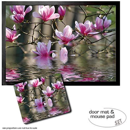1art1 Fleurs, Fleurs De Magnolias Qui Se Reflètent dans l'eau Paillasson Essuie-Pieds (70x50 cm) + Tapis De Souris (23x19 cm) Set Cadeau