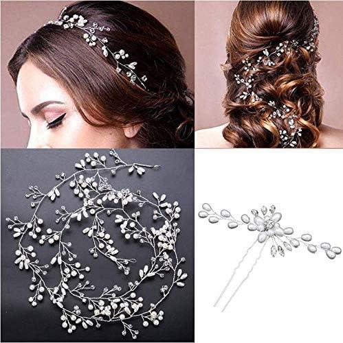 TQsuen Crystal Bridal Headband Wedding Headpieces 20 Inches Handmade Crystal Pearl Wedding Headpiece product image