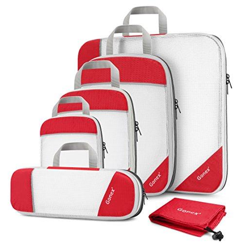 Gonex Cubetti di imballaggio Organizzatori di valigie Organizzatori di viaggio Borse Tessuto a rete, Borse per bagagli Confezionamento Abbigliamento Scarpe