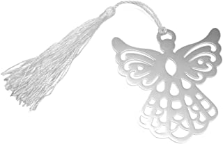 Silver Metal Angel Bookmark Wedding Party Favors With White Silk Tassel Pack Of 6