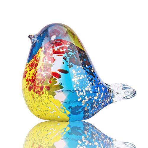 YU FENG Figura decorativa de pájaro de cristal soplado coleccionable colorido realista pájaro escultura pisapapeles para decoración del hogar mesa centro de mesa presente