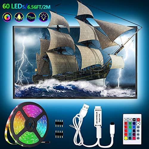 USB Led Strip 6.56ft/2M TV Hintergrundbeleuchtung Fernseher Beleuchtung Dimmbar Wasserdicht Led Leuchtstreifen mit Fernbedienung, Sicherheit 5V USB Powered für 35-65 Zoll HDTV,PC-Bildschirm,Schränke
