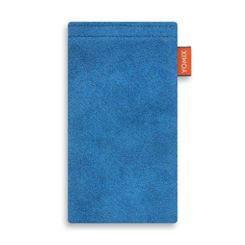 YOMIX Handytasche HUGO blau für OPPO N3 aus Alcantara® mit genialer Bildschirm-Reinigungsfunktion durch Microfaserinnenfutter