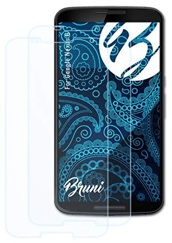 Bruni Schutzfolie kompatibel mit Google Nexus 6 Folie, glasklare Bildschirmschutzfolie (2X)
