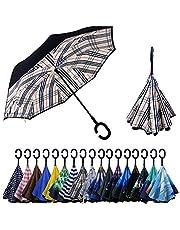 YOKITOMO 長傘 レディース 逆さ傘丈夫 撥水 内外2枚の布の構成で耐風 熱中症対策 完全遮光 遮熱効果 閉じると自立可能 晴雨兼用傘 車用(チェック2)人気ギフト