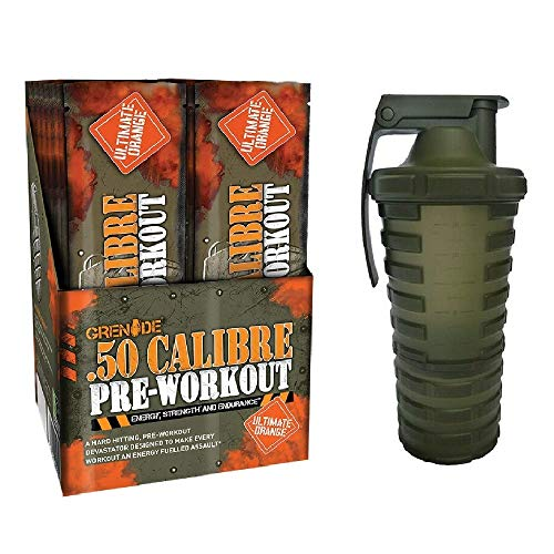 Grenade 50 Calibre Pre-Workout Devastation Sachets - Ultimate Orange, 50 Servings (25 Sachets, 2 Servings per Sachet) with Shaker