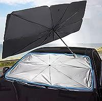 車のフロントガラスの太陽色合いの傘、折りたたみ式車の傘、フロントガラスのサンの保護傘のフロントサンスクリーンバイザーブロックUV、使いやすい,49.2*25.5 inch