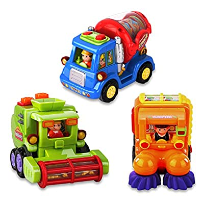 AOKESI Baby Truck Toys 3 Pack Push and Go Toy Cars for Toddlers Friction Powered Cars Construction Vehicles Preschool Baby Play Cars Set for 1 2 3 Years Old Boy Toddlers Kids Gift