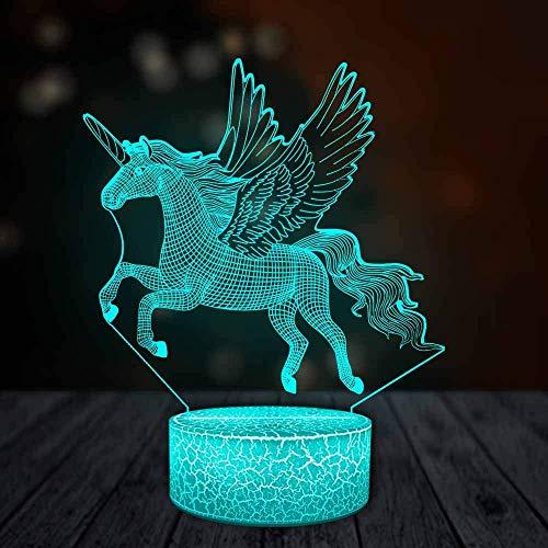 3D illusie lamp eenhoorn dier pony nachtlampje LED 7 toetsen touch decoratie tafellamp bedlampje verjaardagscadeau voor kinderen [energieklasse A++]