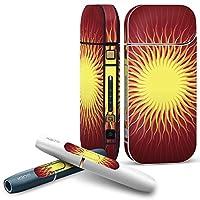 iQOS 2.4 plus 専用スキンシール COMPLETE アイコス 全面セット サイド ボタン スマコレ チャージャー カバー ケース デコ ユニーク 太陽 SUN 001099