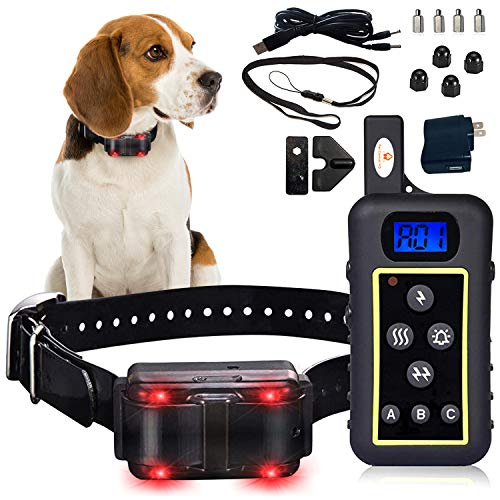 Stubborn Dog Collar w/Remote (Flashing Light Beacon) Shock, Vibration Electric Pet Trainer - Small, Medium & Large Canine - Waterproof Hunting, Sport, Bark Behavior Correction/LED Rechargeable Combo